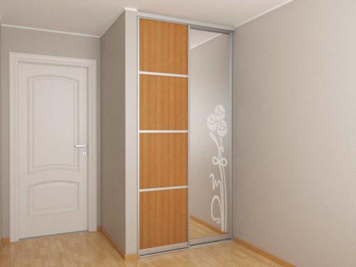 Встроенный шкаф-купе в нишу 1,2 метра с пескоструйным рисунком