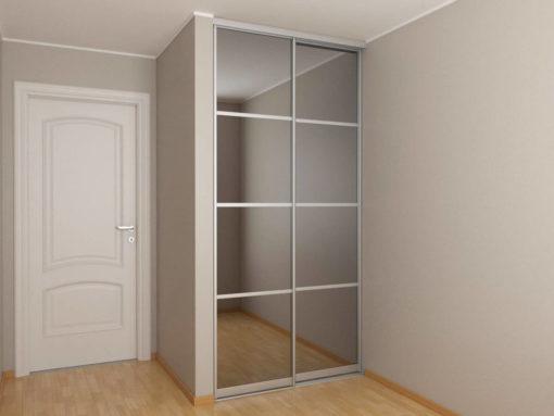 Встроенный шкаф-купе в нишу 1,2 метра с зеркалом графит