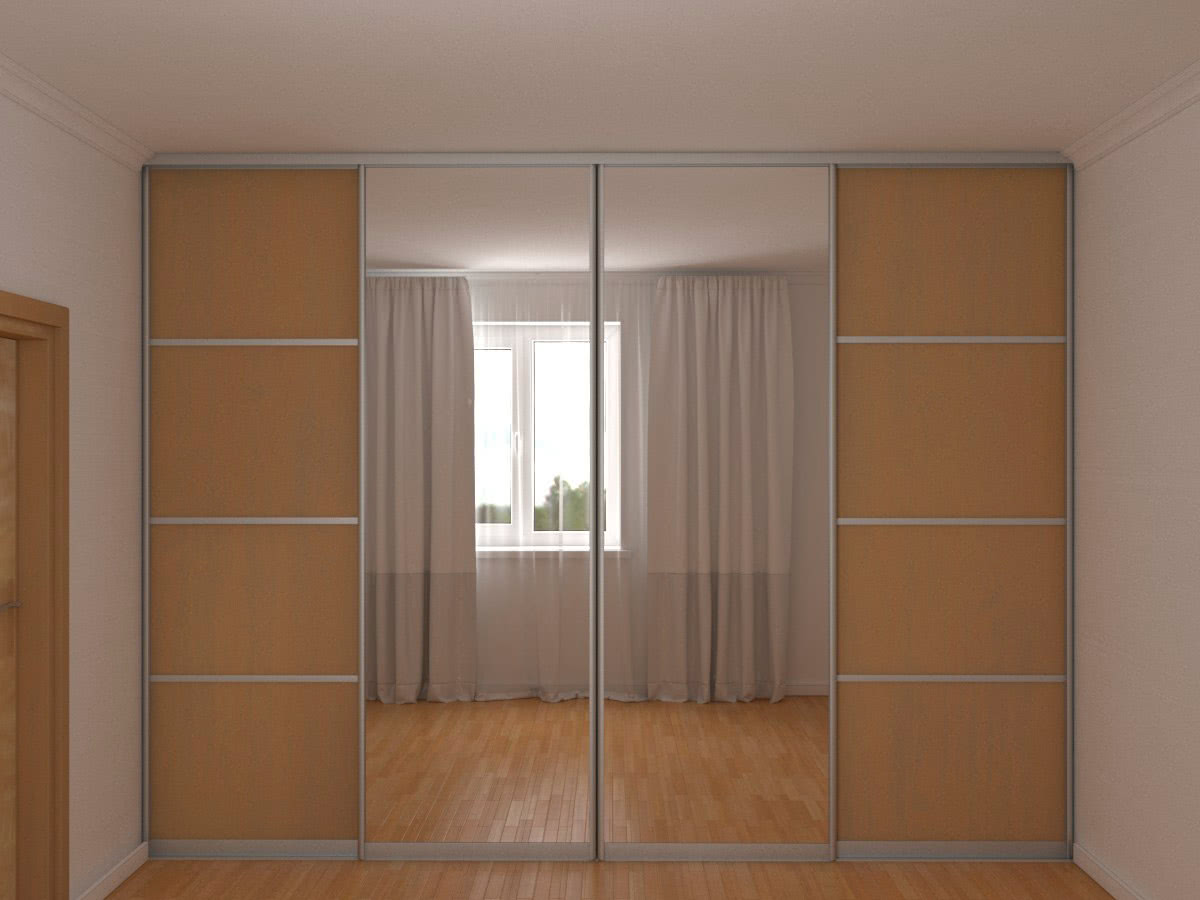Встроенный во всю стену зеркальный шкаф-купе шириной 344 см