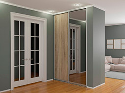 Встроенный шкаф-купе  с одной зеркальной дверью Графит