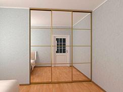 Зеркальный встроенный шкаф-купе в нишу 2,3 метра